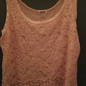 Cute floral detailed baby pink tank top